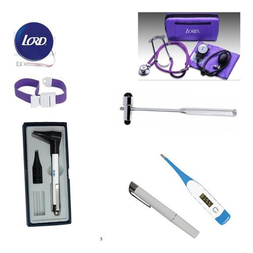 Kit Medico 3 Fonendoscopio+tensiómetro+otoscopio+martillo