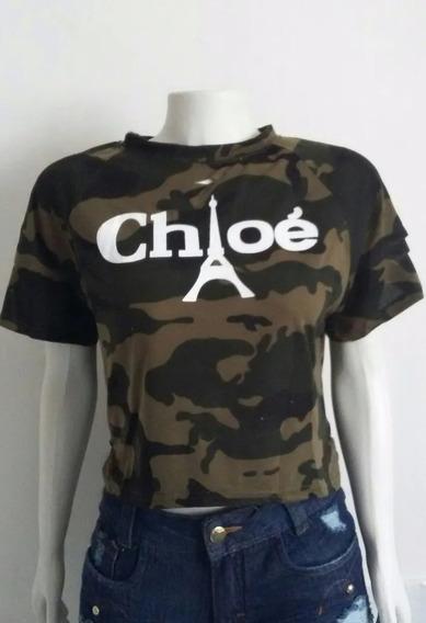 Camiseta Feminina Verde T Shirt Camuflada Mullet Destroyd