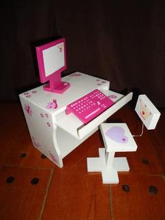 Escritorio Pc+monitor+teclado+silla Barbies Personalizado