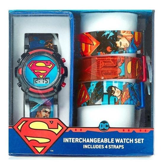 Superman Reloj Original Dc Comics 4 Correas