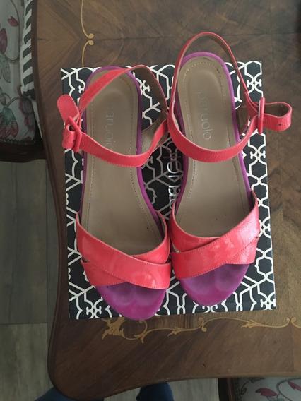 Sandalias,zapatos,paruolo,n°39,charol Coral/fucsia,preciosos