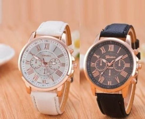 Somente Hoje Kit 2 Relógio Feminino Pulseira Couro Geneva