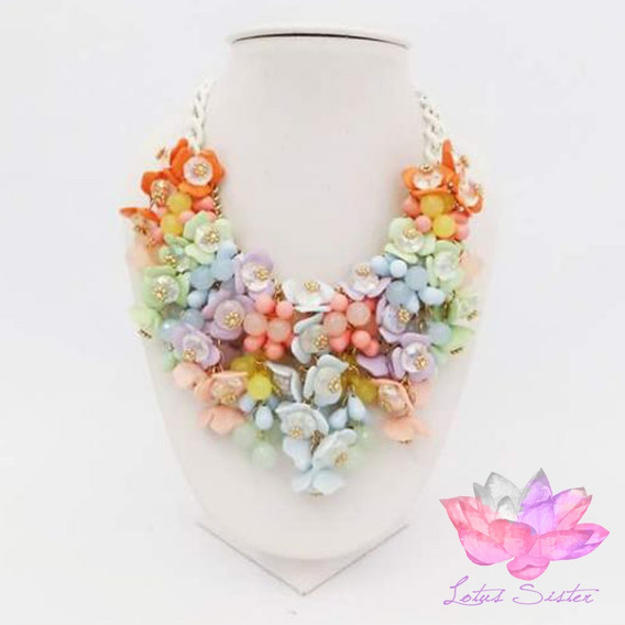 Collar Casual De Dama Con Flores De Resina Multicolor (pz)