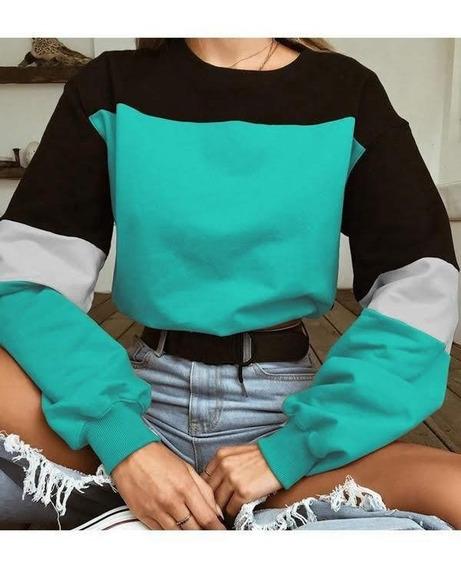 Sudadera Hoodie, Block Color, Moda Dama Cuenda En Cintura