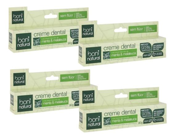 Creme Dental S/ Flúor Natural Menta Melaleuca 4un Classy