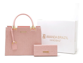 Bolsa Feminina + Carteira Amanda Brazil Croco Promoção