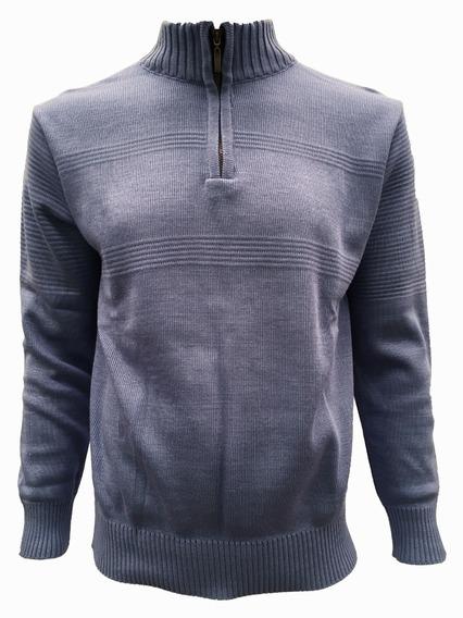 Suéter Azul Rey Con Medio Cierre Hombre