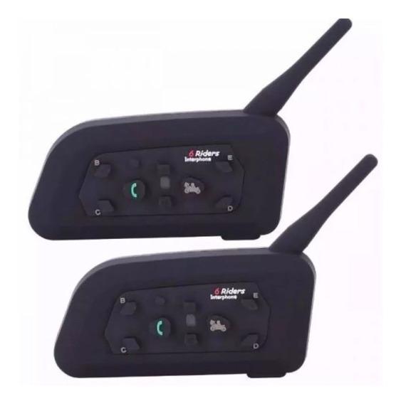 Par Intercomunicador Comunicador Capacete Moto V6 Intercom