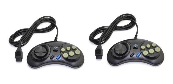Kit 2 Controle Mega Drive Master System 6 Botões Sega Tectoy