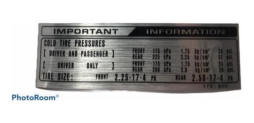 Imagen 1 de 1 de Emblema Honda Tire Pressure C70, Otros Modelos