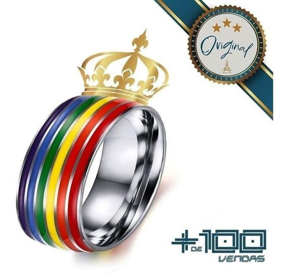 Anel Lgbt Solitário Aço Unissex Orgulho Gay