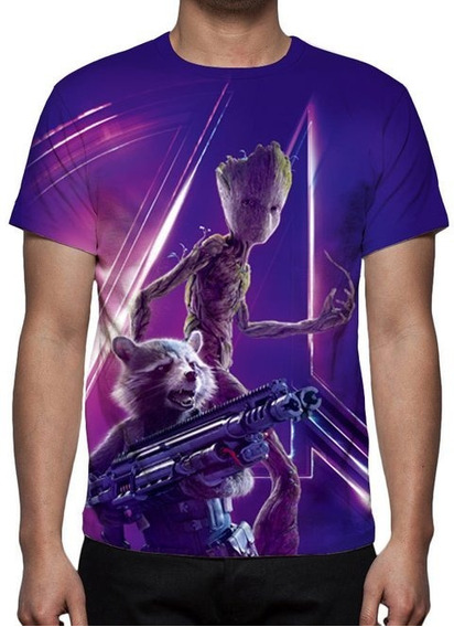 Camiseta Rocket E Teen Groot Guerra Infinita - Estampa Total