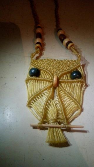 Collar Gargantilla Macrame Búho Tecolote Artesania Hippie