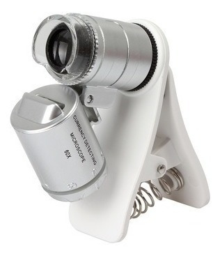 Lupa Con Clip Microscopio Celular Universal Zoom 60x Led Uv
