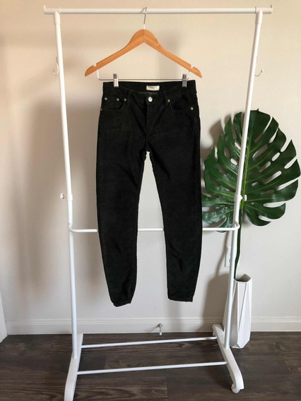 Pantalon De Pana Color Verde Obscuro Skinny Marca Zara