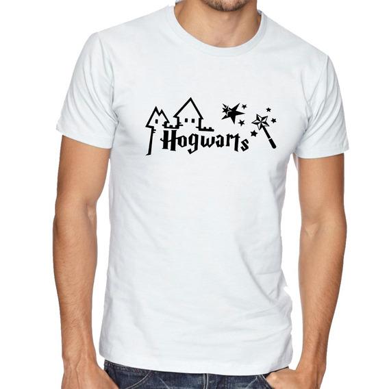 Camiseta Blusa Hogwarts Harry Potter Varinha Estrelas Filme