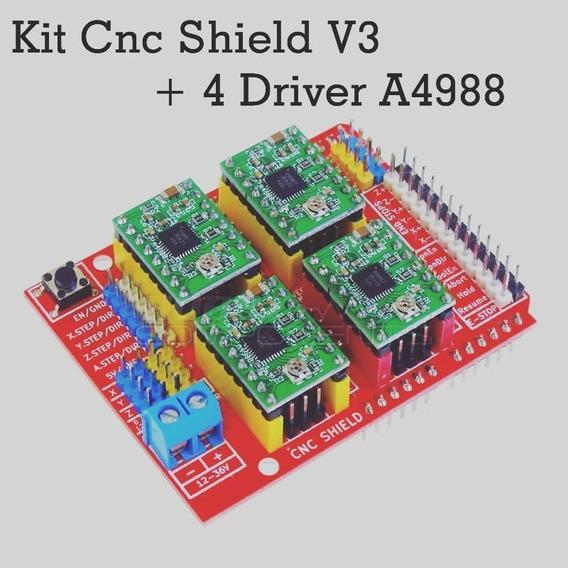 Kit Cnc Shield V3 + 4 Driver A4988 Com Dissipador De Calor