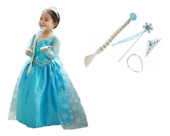Vestido Fantasia Infantil Frozen Elsa + Acessórios