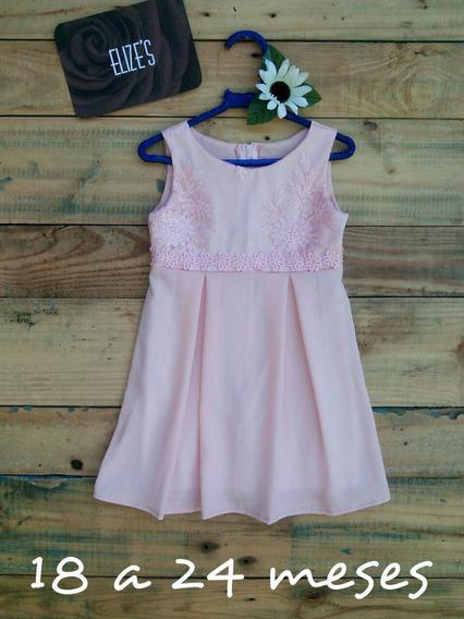 Vestido Infantil Rosa Com Renda Roupa De Menina