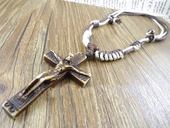 Colar Cordão Feminino Masculino Cruz Crucifixo