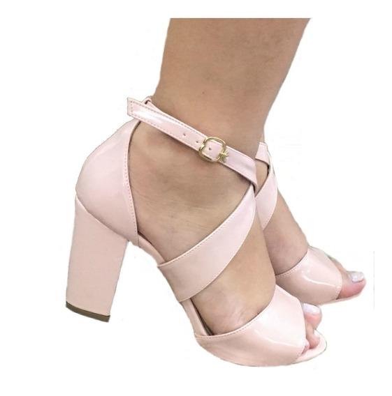 Sandalias Femininas Rosa Claro Salto Grosso Salto Medio Sapatos Femininos Saltos Baratos Promocao Casual Festa