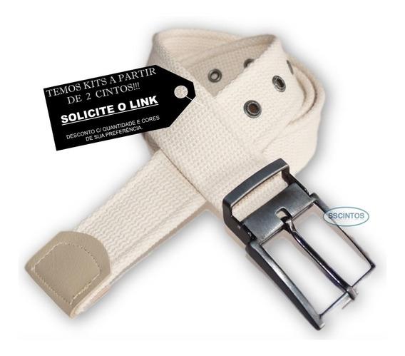 Cinto Lona Premium Masculino Fivela C/ Regulagem L49 Pt