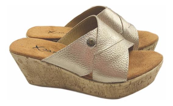Sandalia Zapato De Mujer Cuero Taco Chino