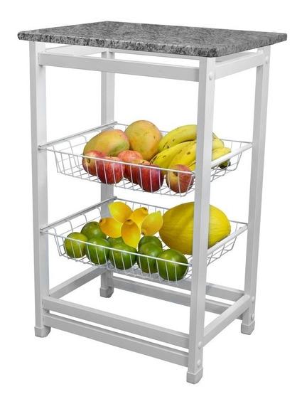Fruteirão Utilaço Branco Liso Com 2 Bandejas