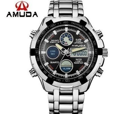 Relógio Masculino Amuda Luxo Modelo 2002 Prata