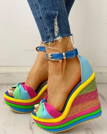 Sandália Plataforma Anabela Colorida