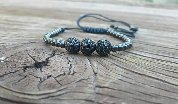 Pulsera De 3 Esferas Con Zirconias Negras