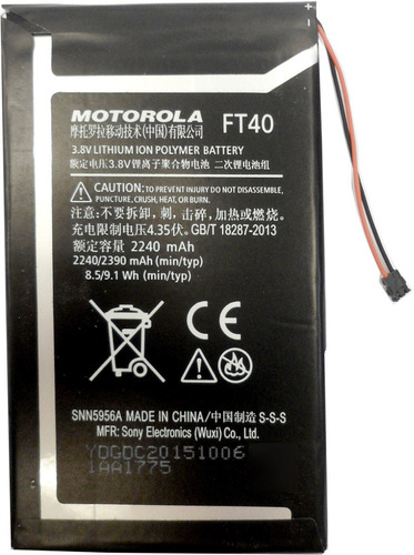 Imagen 1 de 6 de Bateria Motorola Original Ft40 E2 1525 2240mah (2013) E3022