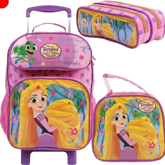 Kit Mochila Lancheira Estojo Rapunzel Enrolados Disney
