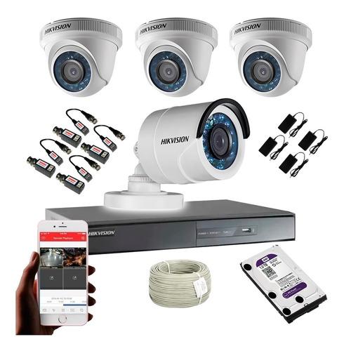 Cámara De Seguridad Kit Hikvision Dvr 8 Ch + 4 Cámaras 720p