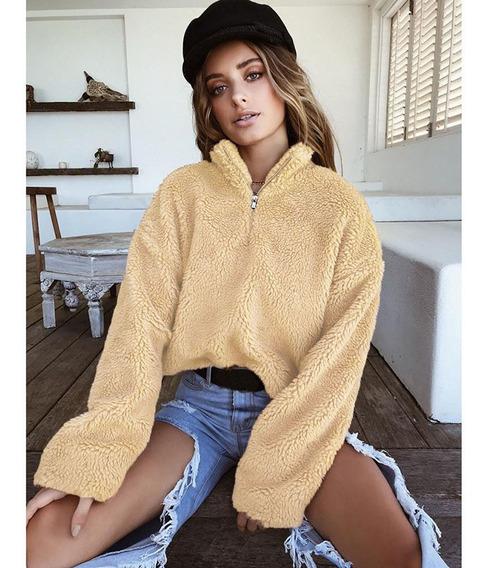 Moda Feminina Cropped Fofo Hoodies Fleeces Gola Alta Zipper