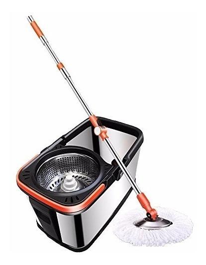 Kit Spin Mop Balde Em Aço Inox Inquebravel Centrifuga Inox