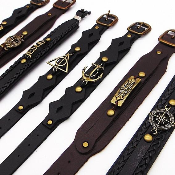 Lote Com 10 Pulseiras Bracelete Atacado Unisex Couro Revend