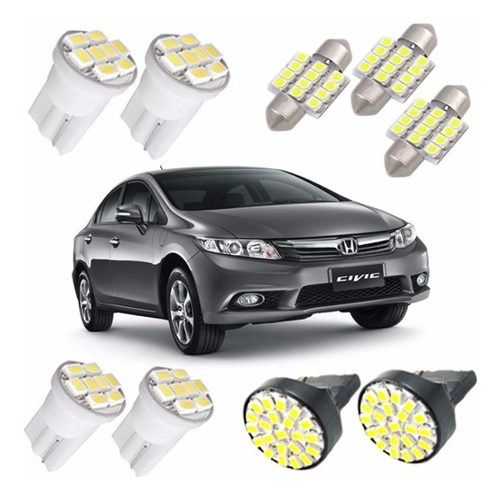 Kit Lampadas Led Civic 2012 2013 Pingo Placa Teto Ré