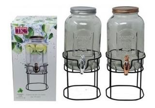 2 Dispenser Frascos Canilla 3l Con Soporte Vidrio Bebidas