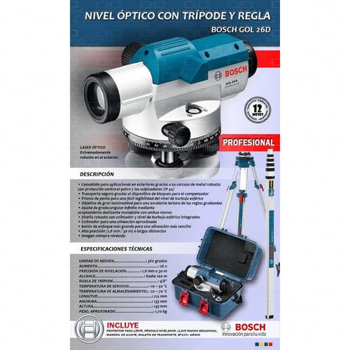 Bosch Professional Nivel /Óptico GOL 26 G aumento 26x, unidad de medida: 400 Gon, alcance: hasta 100/m, regla graduada GR 500, tr/ípode BT 160, en malet/ín de transporte