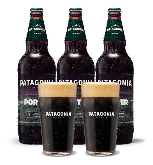 Cerveza Patagonia Porter 740 Cc X3 + 2 Vasos De Regalo