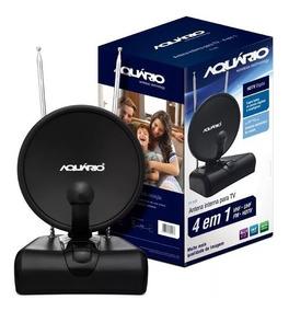 Antena Digital Interna Tv-500 Aquario 4 Em 1 Uhf/hdtv/vhf/fm