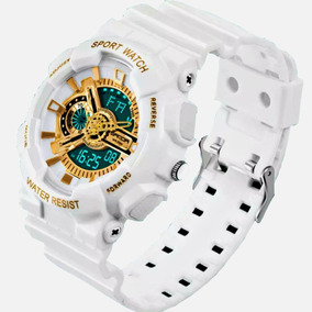 Relógio Esportivo Dourado Dupla Exibição Led Digital Branco