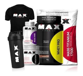 Combo Whey Protein Mass17500 Bcaa Creatina Camisa Max