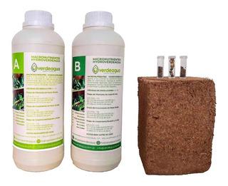 Kit Hidroponia Sustrato + Nutrientes + Semillas