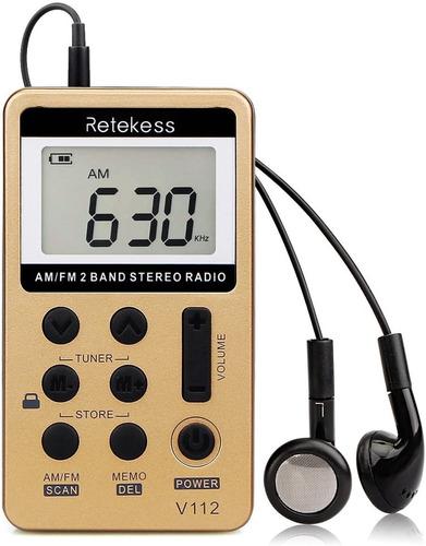 Mini Radio Bolsillo Recargable Am Y Fm Pantalla Lcd Original