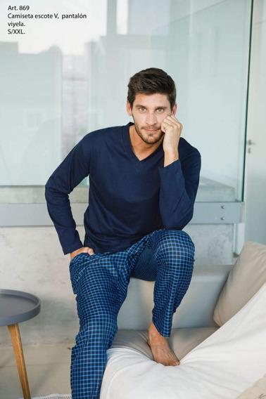Pijama Pantalón Escocés De Hombre, Talles S Al Xl
