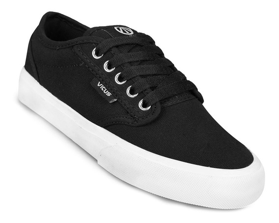 Zapatillas Vicus Folk Canvas Lona Negro Y Blanco