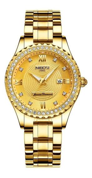 Relógio Feminino Nibosi 2357 De Luxo 100% Original Dourado