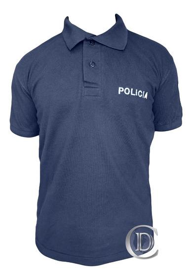 Chomba Piquet Policía Provincia Azul Bordado Plateado